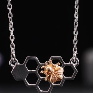 Jewelry -  Silver Plated Honey Comb & Gold Bee's Necklace 